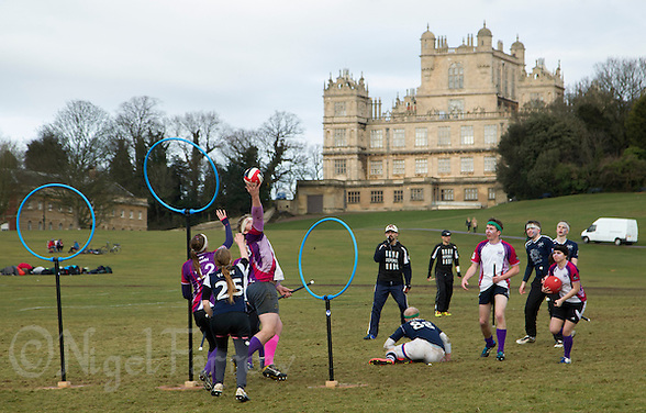 08 MAR 2015 - NOTTINGHAM, GBR - Players from Loughborough Longshots and Radcliffe Chimeras battle for a place in the 2015 British Quidditch Cup final at Woollaton Hall and Deer Park in Nottingham, Great Britain (PHOTO COPYRIGHT © 2015 NIGEL FARROW, ALL RIGHTS RESERVED) (NIGEL FARROW/COPYRIGHT © 2015 NIGEL FARROW : www.nigelfarrow.com)
