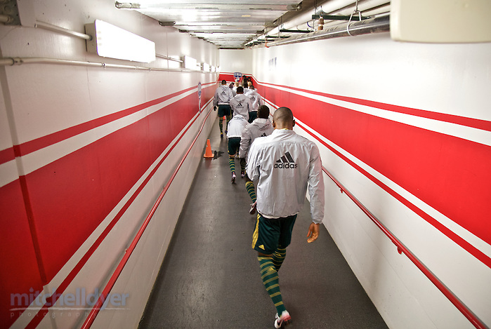 Nov 29, 2015; Frisco, TX, USA; The Timbers walk down the tunnel towards the field before the match at Toyota Stadium. Photo: Craig Mitchelldyer-Portland Timbers (Craig Mitchelldyer)