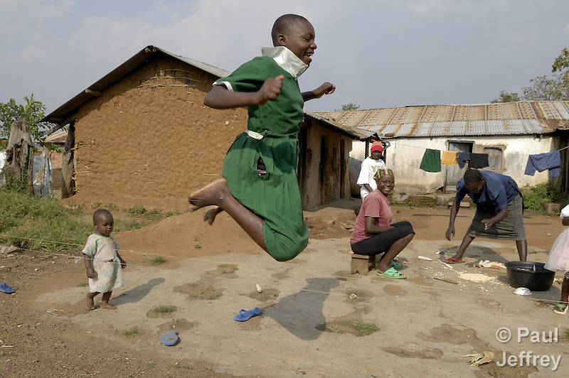 A girl skips rope in the remote Kenyan village of Kopanga, where the town's clinic is operated by the Methodist Church of Kenya. (Paul Jeffrey)