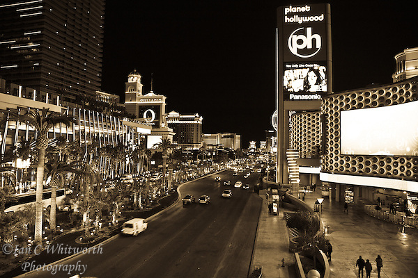 Looking up the Las Vegas strip at night in B&W (Ian C Whitworth)