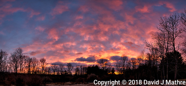 Colored Clouds at Sunset. Composite of six images taken with a Leica CL camera and 18 mm f/2.8 lens (ISO 100, 18 mm, f/2.8, 1/25 sec). Raw images processed with Capture One Pro and the composite created using AutoPano Giga Pro. (David J Mathre)