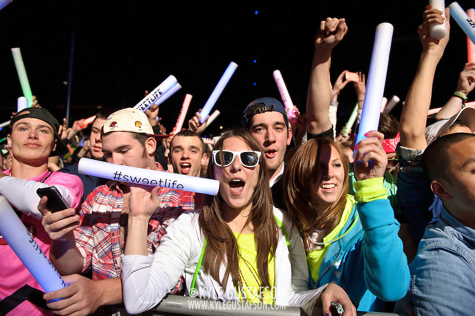 COLUMBIA, MD - April 28th, 2012 -  Fans watch headlining DJ Avicii perform at the 2012 Sweetlife Food and Music Festival at Merriweather Post Pavilion in Columbia, MD.  (Photo by Kyle Gustafson/For The Washington Post) (Kyle Gustafson/FTWP)