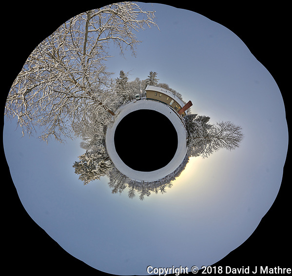 Snowy Backyard Little Planet Panorama. Composite of 22 images taken with a Leica T camera and 11-23 mm wide-angle zoom lens (ISO 200, 15 mm, f/5.6, 1/30 sec). Raw images processed with Capture One Pro and AutoPano Giga Pro. (David J Mathre)