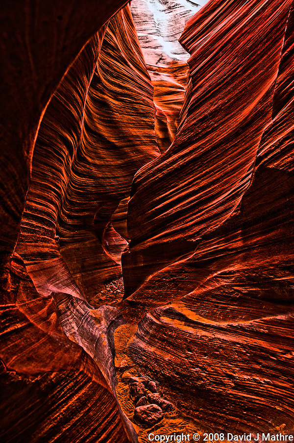 Lower Antelope Canyon, Page Arizona. Image taken with a Nikon D3 and 24 mm f/3.5 PC-E lens (ISO 200, 24 mm, f/5.6, 0.1-0.6 sec). HDR composite processed from 5 images using United Color HDR Express (Blogger's Delight profile). (David J Mathre)