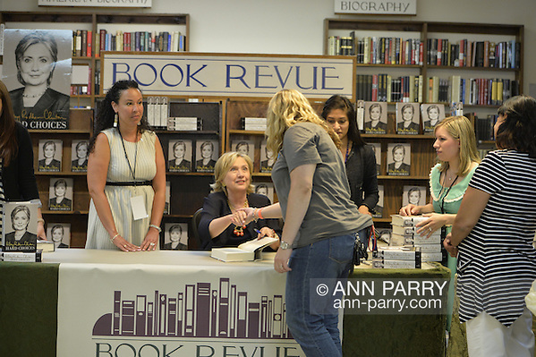 Sue Moller, of Merrick, at book signing for Hillary Rodham Clinton's new memoir, Hard Choices, at Book Revue in Huntington, Long Island. Clinton's book is about her four years as America's 67th Secretary of State and how they influence her view of the future. (Ann Parry/Ann Parry, ann-parry.com)