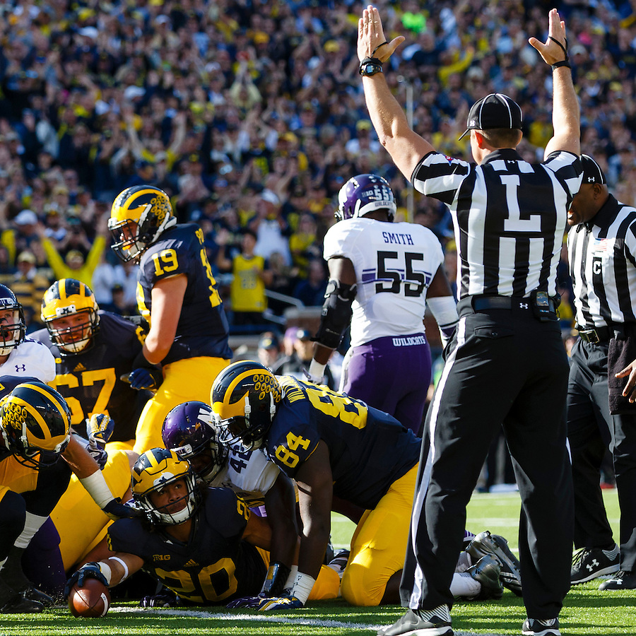 Oct 10, 2015; Ann Arbor, MI, USA; Michigan Wolverines running back Drake Johnson (20) rushes for a touchdown in the first quarter against the Northwestern Wildcats at Michigan Stadium. Mandatory Credit: Rick Osentoski-USA TODAY Sports (Rick Osentoski/Rick Osentoski-USA TODAY Sports)