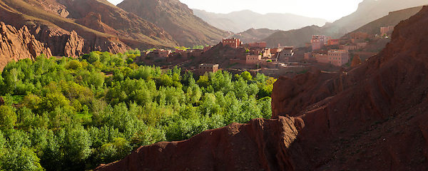 Panoramic landscape photo of Dades Gorge, Morocco, North Africa