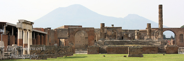 With Mount Vesuvius in the background, a panoramic view of the ruins at Pompeii (Ian C Whitworth)