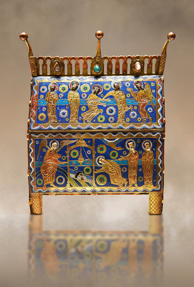 Gothic chest decorated with the Resurection of Christ from Limoges Circa 1220. Engraved copper with inlaid enamel  enamel champlevé and glass on wooden core. National Museum of Catalan Art, Barcelona, Spain, inv no: MNAC 65530 (Paul E Williams)