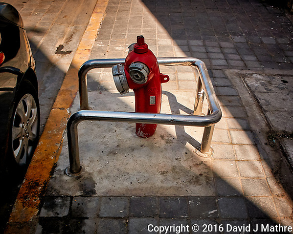 Fire Hydrant in Casablanca, Morocco Have Steel Bumper Guards. Image taken with a Nikon 1 V3 camera and 10-30 mm VR lens (ISO 200, 10 mm, f/3.5, 1/800 sec). (David J Mathre)