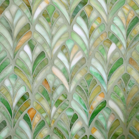 Margot, a jewel glass waterjet mosaic, is shown in Emerald. (New Ravenna Mosaics)
