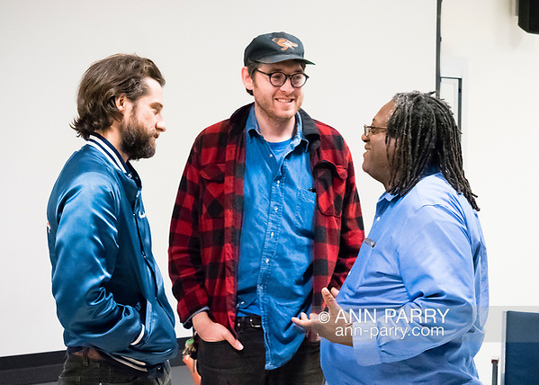 Hempstead, NY, USA. Oct. 30, 2017. After SYLVIO film screening and a Q&A, KENTUCKER AUDLEY and ALBERT BIRNEY chat with Prof. WILLIAM JENNINGS, of Radio, Television, Film Department of Lawrence Herbert School of Communication of Hofstra University. (Ann Parry/Ann Parry, ann-parry.com)