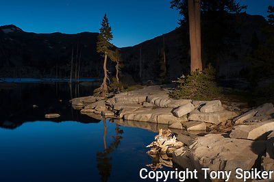 &quot;Lake Aloha Night Reflections 3&quot; - Photograph of Lake Aloha, located in Desolation Wilderness near the South Shore of Lake Tahoe (Tony Spiker)