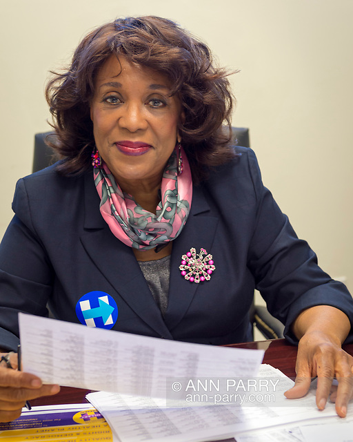 """""""Garden City, New York, USA. April 17, 2016. BERNICE SIMS, a campaign volunteer for Democratic presidential primary candidate Hillary Clinton, is working at the Canvass Kickoff at Nassau County Democratic Office. Ms. Sims is a social worker, civil rights activist and author of the 2014 book Detour Before Midnight - her personal account of the last hours she and her family were with the Mississipi Burning civil rights workers killed by the KKK in 1964. (© 2016 Ann Parry/AnnParry.com)"""