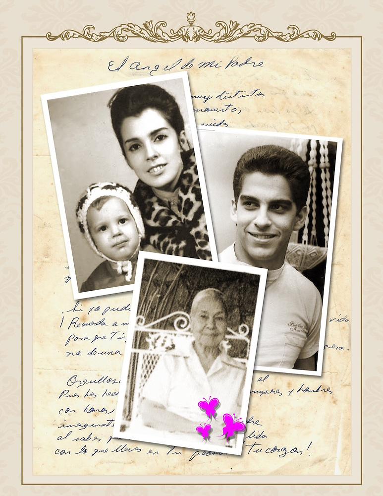 Al fondo el poema de Rafe a doña Arlette. En las fotos Arlette con Rafe de bebé. A la derecha Rafe, de joven, y debajo doña Doña Chea.