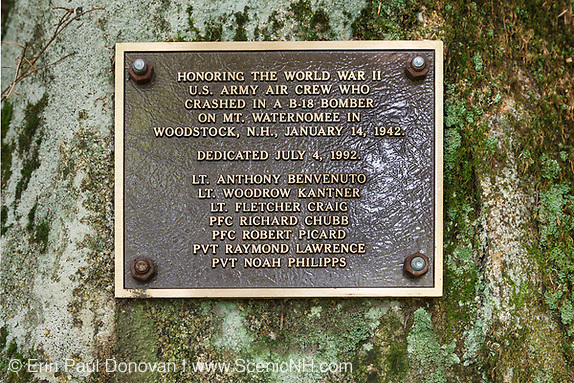 Crash site of B-18 Bomber on Mount Waternomee in Woodstock, New Hampshire USA. Crashed on January 14, 1942. Out of seven crew members, five survived the crash and were able to remove themselves from the wreckage. The remaining two members died when the plane exploded.