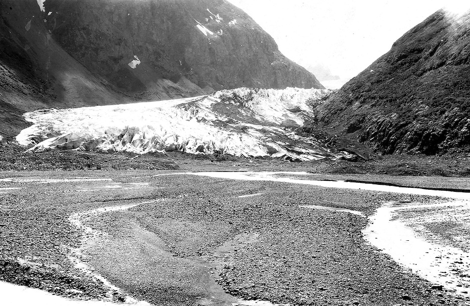 Eklutna Glacier in 1915, image taken by U.S. Geological Survey geologist Stephen Reid Capps.  Eklutna Glacier is located in the Eklutna Lake area of Chugach State Park, Alaska, United States. (1915 S.R. Capps/U.S. Geological Survey)