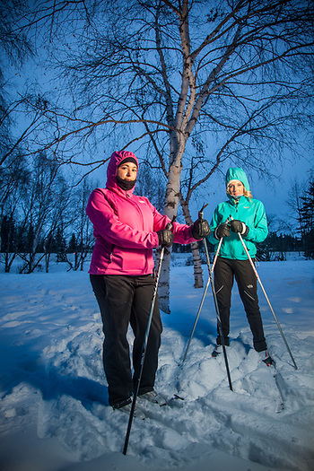Rachel Goertz and Allison Dybowski on the Tony Knowles Coastal Trail near Westchester Lagoon, Anchorage. (Clark James Mishler)