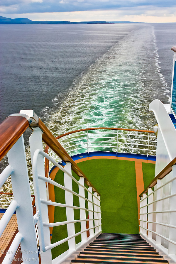 A view down the stairs at the stern of a cruise ship looking into the North Sea wake. (Ian C Whitworth)