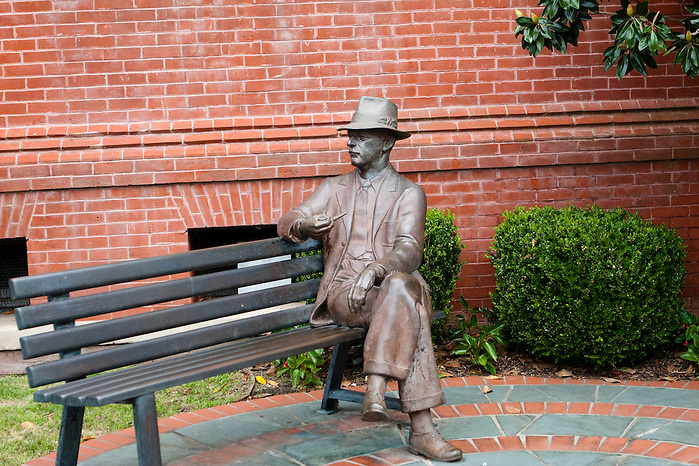 Bronze statue of author William Falkner, on the square in Oxford Mississippi. (Kathryn Wagner Photography)