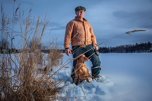Architect, Jim Blair, with his dog, Emma, Westchester Lagoon, Anchorage (Clark James Mishler)