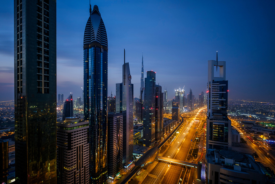 UNITED ARAB EMIRATES, DUBAI - CIRCA JANUARY 2017: Sheikh Zayed Road at night in Dubai. This is the main artery of the city and is home for most of the Dubai skyscrapers. (Daniel Korzeniewski)