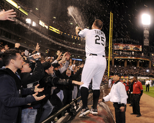 CHICAGO - SEPTEMBER 30:  Jim Thome #25 of the Chicago White Sox celebrates with the fans after the game against the Minnesota Twins at U.S. Cellular Field in Chicago, Illinois on September 30, 2008.  The White Sox defeated the Twins 1-0 to win the American League Central title.  Thome hit a solo home run for the only run of the game.  The Sox and Twins had to play a one game playoff to determine the American League Central Champion.  (Photo by Ron Vesely) (Ron Vesely)