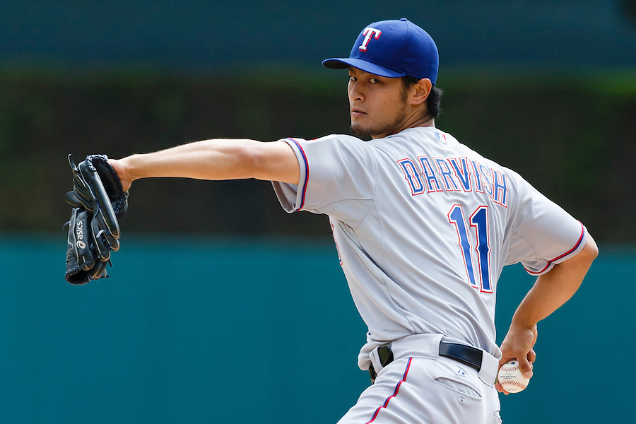 May 22, 2014; Detroit, MI, USA; Texas Rangers starting pitcher Yu Darvish (11) warms up before the first inning against the Detroit Tigers at Comerica Park. Mandatory Credit: Rick Osentoski-USA TODAY Sports (Rick Osentoski/Rick Osentoski-USA TODAY Sports)