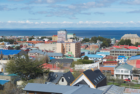 PUNTA ARENAS, CHILE - OCTOBER 28, 2013: Scenic view of Punta Arenas and Magellan strait in Punta Arenas, Chile. It is the southernmost city on the planet with population over 100 thousand located on continent. (Dmitry Chulov)