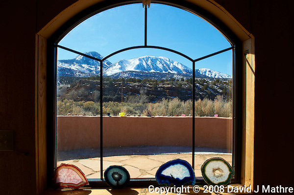 "Window to Sleeping Ute. Elderhostel ""Southwest Photography"" Workshop Day 2. Kelly Place Cortez Colorado. Image taken with a Nikon D3 and 24-70 mm f/2.8 VR lens (ISO 200, 24 mm, f/22, 1/200 sec) (David J Mathre)"