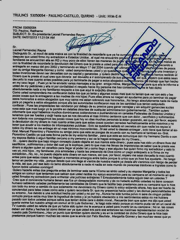 Supuesta carta de Quirino a Leonel