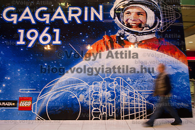 Visitor looks at world record breaker mosaic image of Russian astronaut Yuri Gagarin on display in a shopping center in Budapest, Hungary on March 27, 2011..The 30 square meters large mosaic image is made up from 470 016 Lego pieces and was built to celebrate the 50th anniversary of the first space flight. The national record is alredy validated and the international Guinness Record validation is in progress. ATTILA VOLGYI (ATTILA VOLGYI)