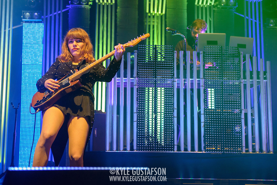COLUMBIA, MD - June 18th, 2013 - Jenny Lewis, and Jimmy Tamborello of the Postal Service perform at Merriweather Post Pavilion in Columbia, MD on their 10th Anniversary Give Up tour. (Photo by Kyle Gustafson) (Kyle Gustafson)