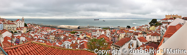 Morning Panorama Over Lisbon. Composite of 10 images taken with a Leica CL camera and 23 mm f/2 lens (ISO 800, 23 mm, f/11, 1/125 sec). Raw images processed with Capture One Pro and the composite generated with AutoPano Giga. (David J Mathre)
