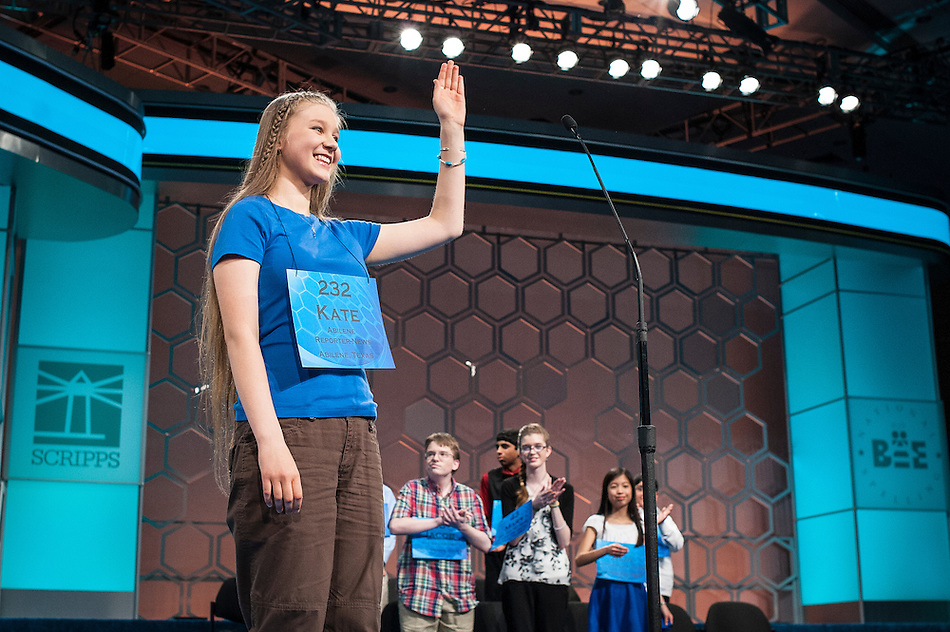 Kate Miller, 14, of Abilene, Texas, participates in the finals of the Scripps National Spelling Bee on May 29, 2014 at the Gaylord National Resort and Convention Center in National Harbor, Maryland. (Pete Marovich/UPI)