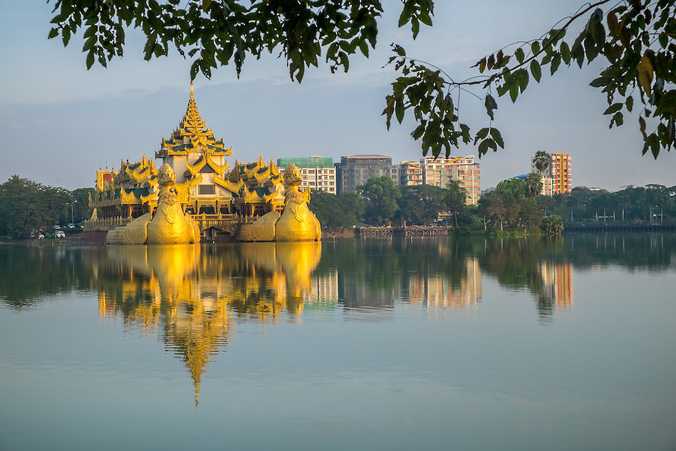 YANGON, MYANMAR - CIRCA DECEMBER 2013: View of the Karaweik Hall at Kandawgyi Lake in Yangon. (Daniel Korzeniewski)