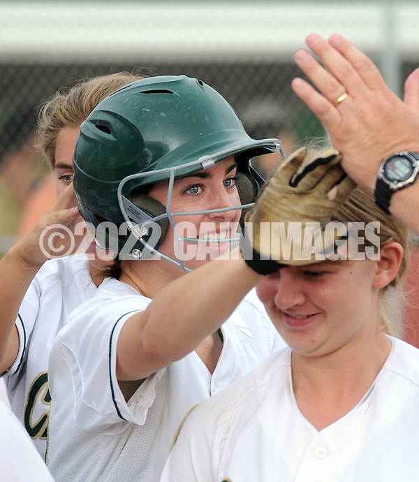 LYONS, PA - JUNE 09: Lansdale Catholic's Greta Sheridan is congratulated after hitting a home run during the PIAA Class AAA softball semifinal June 9, 2014 Lyons, Pennsylvania. Bethlehem won 4-1. (Photo by William Thomas Cain/Cain Images) (William Thomas Cain)