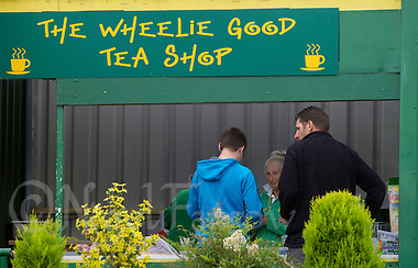 11 AUG 2013 - BIRMINGHAM, GBR - Spectators visit the Birmingham Wheels Park refreshments shop, The Wheelie Good Tea Shop, during the Federation of Inline Speed Skating 2013 British Outdoor Championships in Birmingham, Great Britain (PHOTO COPYRIGHT © 2013 NIGEL FARROW, ALL RIGHTS RESERVED) (NIGEL FARROW/COPYRIGHT © 2013 NIGEL FARROW : www.nigelfarrow.com)