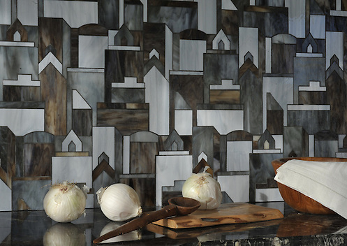 Cityscape, a water jet glass mosaic shown in Pearl, Lavastone, and Tourmaline, is part of the Erin Adams Collection for New Ravenna Mosaics. (Picasa)