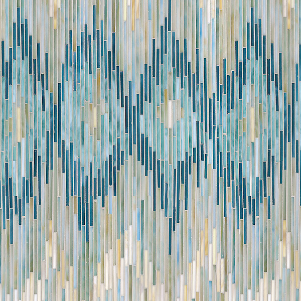 "Name: Loom Style: Contemporary Product Number: NRJFGLOOM Description: 24""x 24"" Loom in glass Quartz, Aquamarine, Tanzanite, Turquoise (New Ravenna Mosaics)"