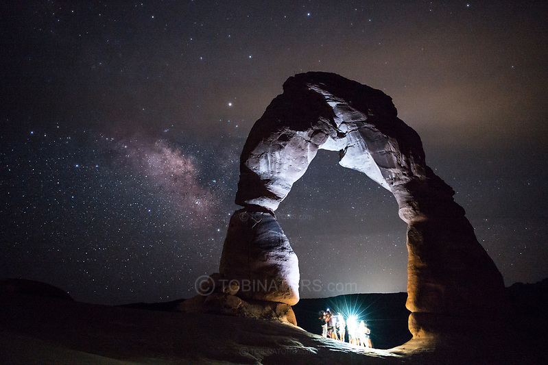 Delicate Arch, Utah, lit by a group of sightseers well after sunset. Picture by Andrew Tobin. (Andrew Tobin)