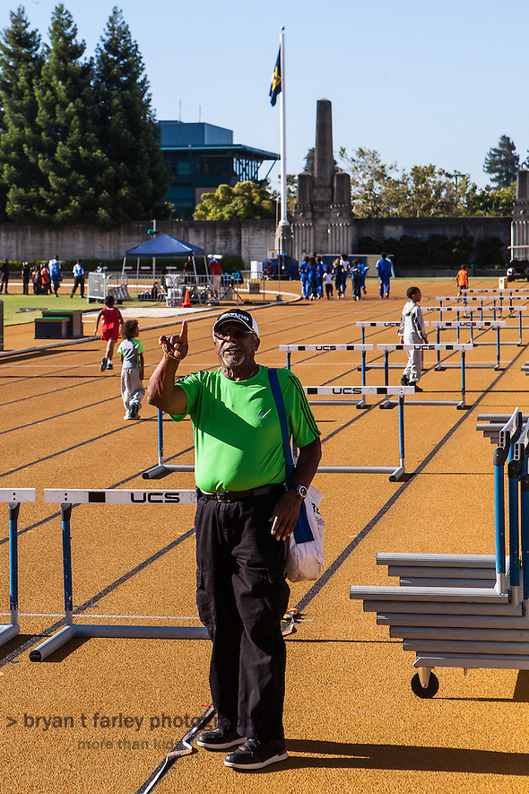 Coach Willie White preparing for the 2013 Tommie Smith Youth Track Meet at Edwards Stadium on the University of California Berkeley campus on Saturday June 1, 2013. Coach White, a 1960 NCAA All-American, was inducted into the Cal Athletic Hall of Fame in 2000. (bryan farley)
