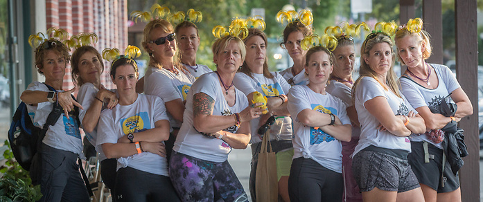 The Texas Tipsy Chicks from Austin and participants in the Ragnar Marathon in Calistoga, California. justynebiddle@yahoo jen@jenallis.com (© Clark James Mishler)