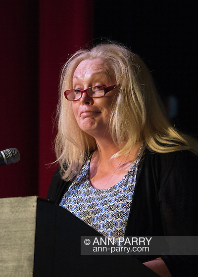 Bellmore, New York, USA. July 21, 2016. Actress CATHY MORIARITY, who was Vikki LaMotta in Raging Bull when she was a teenager, introduces Lifetime Achievement honoree Ed Asner at the 19th Annual Long Island International Film Expo Awards Ceremony, LIIFE 2016, held at the historic Bellmore Movies. LIIFE was called one of the 25 Coolest Film Festivals in the World by MovieMaker Magazine. (Ann Parry/Ann Parry, ann-parry.com)