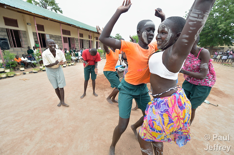 Students perform a traditional dance at the Loreto Secondary School in Rumbek, South Sudan. The girls' school is run by the Institute for the Blessed Virgin Mary--the Loreto Sisters--of Ireland. (Paul Jeffrey)