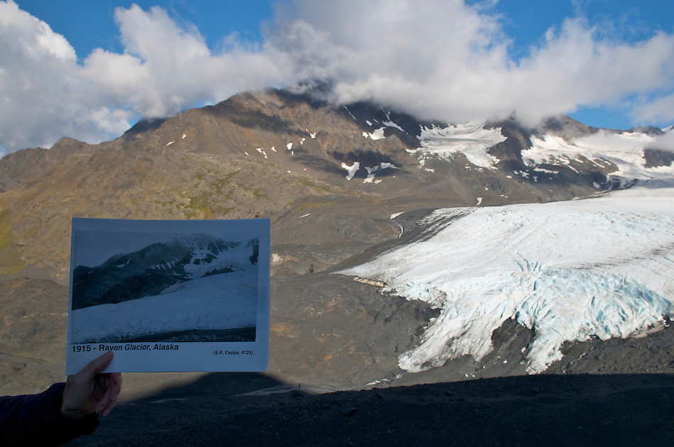 September 11, 2010 repeat photography by Ron Karpilo of a 1915 image taken by USGS geologist Stephen Capps of Raven Glacier at Crow Pass in Chugach National Forest and Chugach State Park, Alaska, United Sftates. (Ron Karpilo)