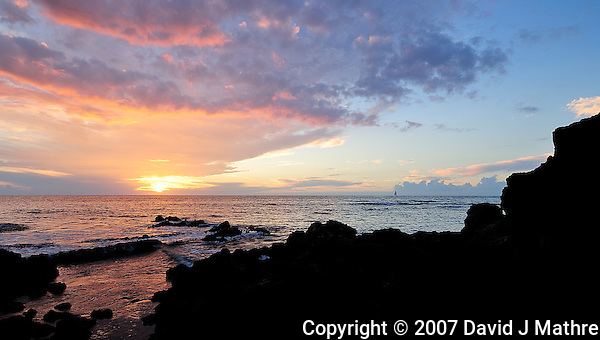 Sunset. Big Island Hawaii. Image taken with a Nikon D2xs and 12-24 mm f/4 lens (ISO 100, 12 mm, f/11, 1/15 sec). (David J. Mathre)