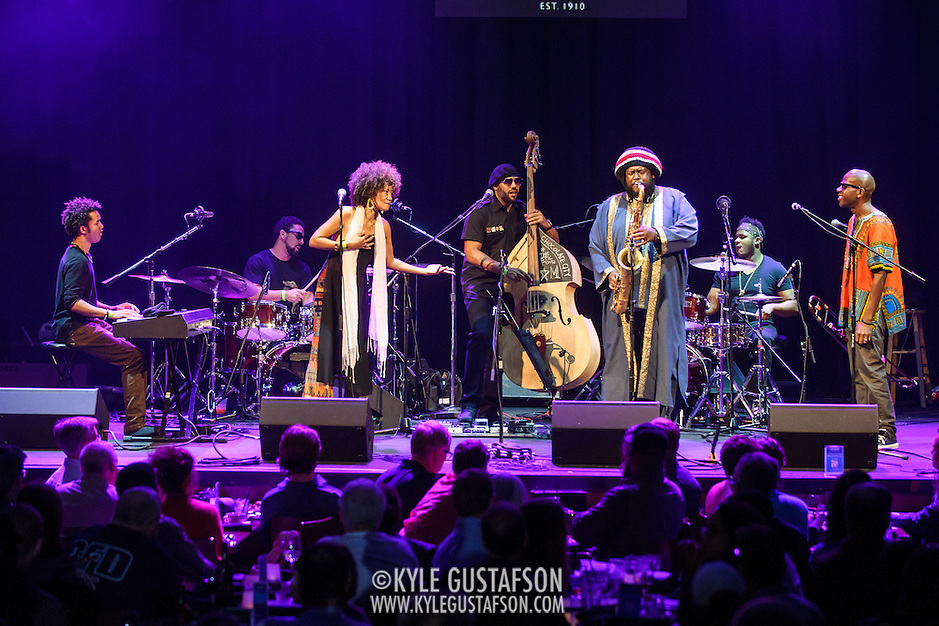 WASHINGTON, DC - August 26, 2015 - Cameron Graves, Tony Austin, Patrice Quinn, Miles Mosely, Kamasi Washington, Ronald Bruner and Ryan Porter perform at the Howard Theatre in Washington, D.C. After working with artists such as Kendrick Lamar and Flying Lotus, Washington is touring behind his debut studio album, The Epic.  (Photo by Kyle Gustafson / For The Washington Post) (Kyle Gustafson/For The Washington Post)