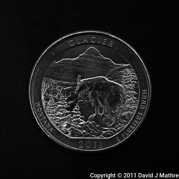 Macro Image of Glacier NP 2011 United States Quarter Coin. Image taken with a Nikon D3x and 105 mm f/2.8 VR Macro Lens (ISO 100, 105 mm, f/4, 1/8 sec). Raw image processed with Capture One Pro 6 and Photoshop CS5. (David J Mathre)