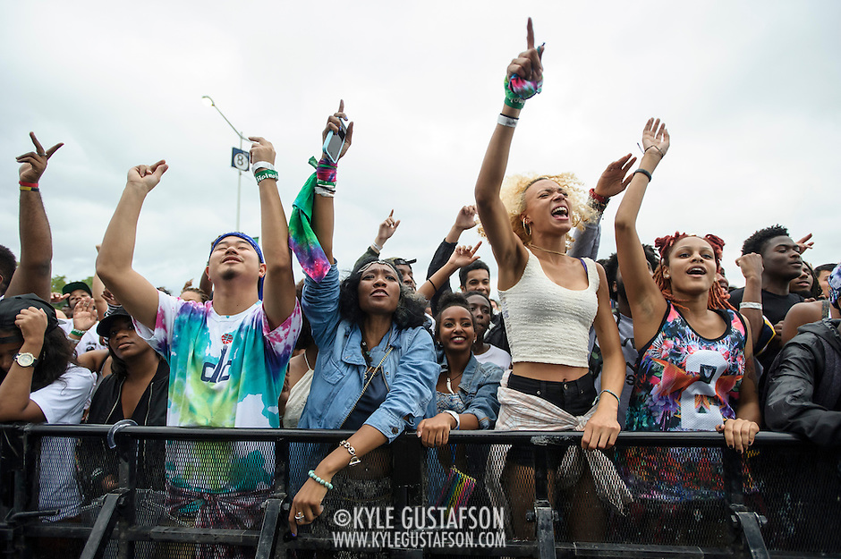 WASHINGTON, DC - August 23rd, 2014 - The crowd goes crazy as local rapper Goldlink performs at the 3rd annual Trillectro Music Festival at RFK Stadium in Washington, D.C. (Photo by Kyle Gustafson / For The Washington Post) (Kyle Gustafson/For The Washington Post)